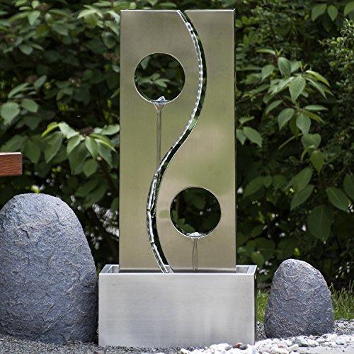 Köhko® Wassserwand Yin Yang mit LED-Beleuchtung Höhe ca. 90 cm Springbrunnen Wasserspiel mit Edelstahlbecken - 2