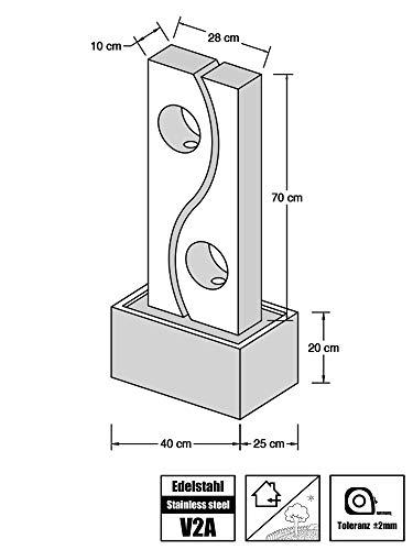 Köhko® Wassserwand Yin Yang mit LED-Beleuchtung Höhe ca. 90 cm Springbrunnen Wasserspiel mit Edelstahlbecken - 6