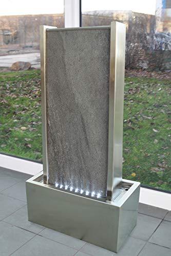 Wasserwand mit LED-Beleuchtung aus Naturstein und Edelstahl 78 cm Höhe