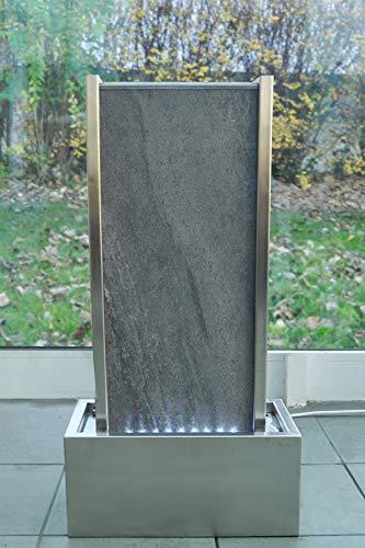 Wasserwand mit LED-Beleuchtung aus Naturstein und Edelstahl 78 cm Höhe - 3