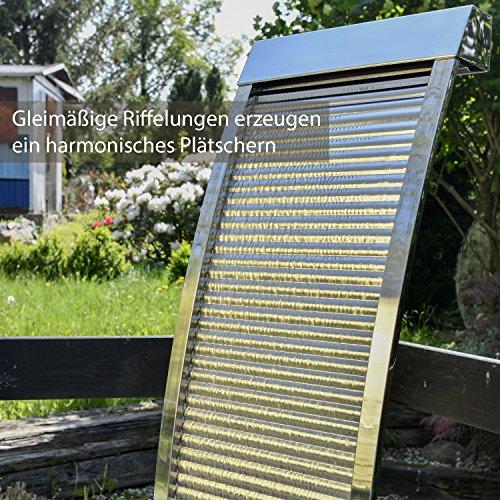 Köhko Terrassenbrunnen 23013 aus Edelstahl Höhe ca. 110 cm Wasserspiel Gartenbrunnen mit LED-Beleuchtung - 4