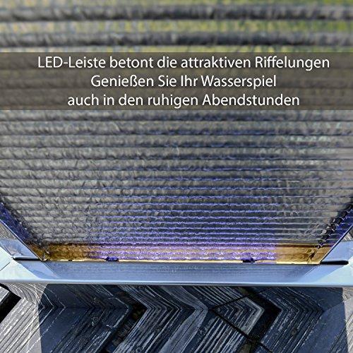 Köhko Terrassenbrunnen 23013 aus Edelstahl Höhe ca. 110 cm Wasserspiel Gartenbrunnen mit LED-Beleuchtung - 5