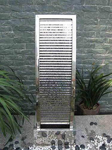 Köhko Terrassenbrunnen 23013 aus Edelstahl Höhe ca. 110 cm Wasserspiel Gartenbrunnen mit LED-Beleuchtung - 3