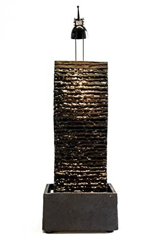 Beleuchteter Wasserwand Brunnen Suna aus Schiefer 50 cm Höhe