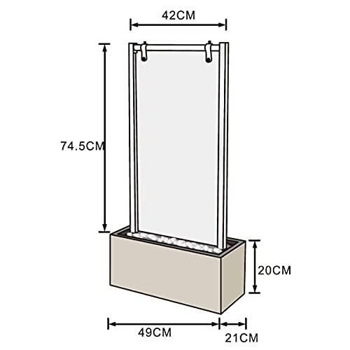 Beleuchtete Wasserwand aus Glas und Edelstahl 95 cm Höhe - 6