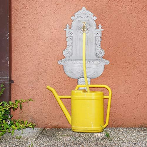 Relaxdays XL Wandbrunnen antik, mit Wasserhahn, nostalgisch, Waschbecken Garten, Aluguss, HBT 75 x 44 x 22 cm, weiß - 3