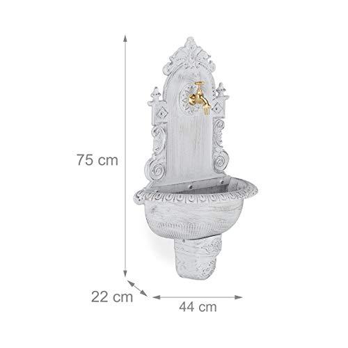 Relaxdays XL Wandbrunnen antik, mit Wasserhahn, nostalgisch, Waschbecken Garten, Aluguss, HBT 75 x 44 x 22 cm, weiß - 7