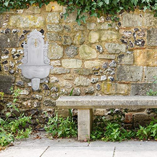 Relaxdays XL Wandbrunnen antik, mit Wasserhahn, nostalgisch, Waschbecken Garten, Aluguss, HBT 75 x 44 x 22 cm, weiß - 4