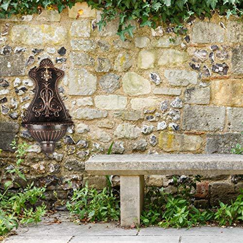 Relaxdays Wandbrunnen, Außenwaschbecken in Nostalgie Look, Wasserhahn & Becken, hängend, HBT: 66 x 37 x 19,5 cm, bronze - 2