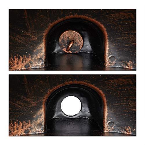 Relaxdays Wandbrunnen, Außenwaschbecken in Nostalgie Look, Wasserhahn & Becken, hängend, HBT: 66 x 37 x 19,5 cm, bronze - 8