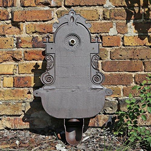 Antiker Wandbrunnen aus Aluminiumguss in braun mit Wasserhahn 75 cm Höhe - 5
