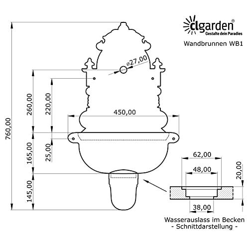 Antiker Wandbrunnen aus Aluminiumguss in braun mit Wasserhahn 75 cm Höhe - 6