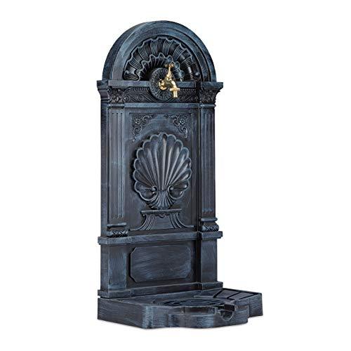Grauer Wandbrunnen Standbrunnen antik mit Wasserhahn 80 cm Höhe