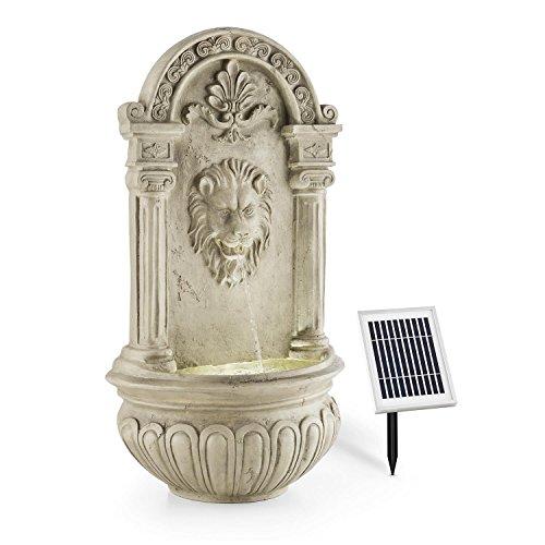 Antiker Wandbrunnen mit Löwenkopf, LED-Beleuchtung und Solarpanel 70 cm Höhe