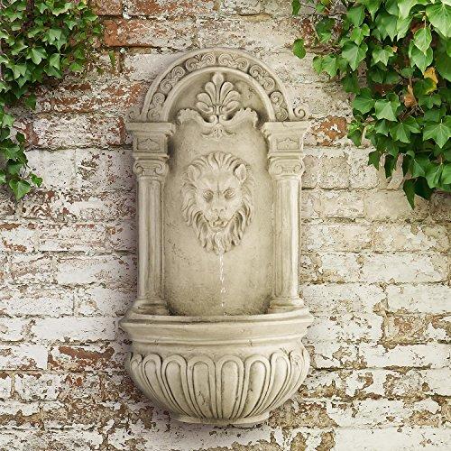 Antiker Wandbrunnen mit Löwenkopf, LED-Beleuchtung und Solarpanel 70 cm Höhe - 4