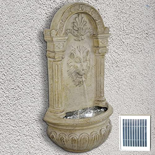 Wandbrunnen Löwenkopf mit Solarpanel und LED-Beleuchtung 75 cm Höhe in Steinoptik