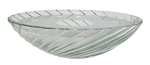Zimmerbrunnenschale aus Alabaster Glas Ø 32 cm mit Einlage aus Metall in der Farbe weiß
