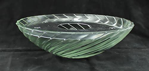 Zimmerbrunnenschale aus Alabaster Glas Ø 32 cm mit Einlage aus Metall in der Farbe weiß - 2