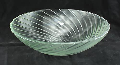 Zimmerbrunnenschale aus Alabaster Glas Ø 32 cm mit Einlage aus Metall in der Farbe weiß - 5