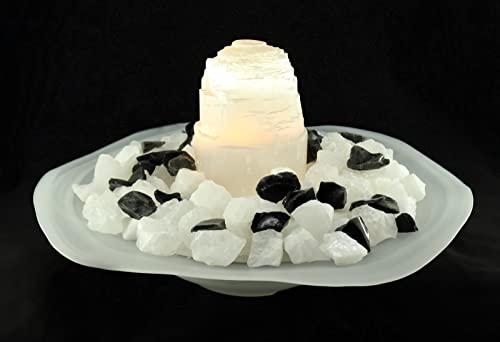 Zimmerbrunnen Schale aus Alabaster Glas Ø 40 cm mit Metalleinlage und Loch für das Kabel der Pumpe - 5