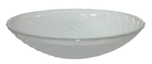 Zimmerbrunnen Schale aus Glas Ø 40 cm in der Farbe weiß mit Wellenmuster