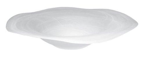 Runde Zimmerbrunnenschale aus Alabaster Glas Ø 42 cm in der Farbe weiß