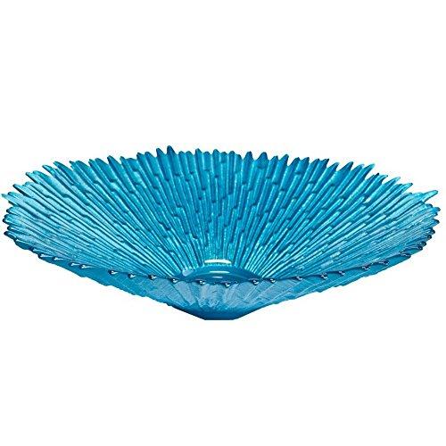 Zimmerbrunnen Schale rund aus Glas Ø 29 cm in der Farbe blau mit Zackenrand