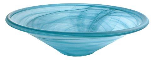 Zimmerbrunnen Schale rund aus Alabaster Glas Ø 35 cm in der Farbe petrol