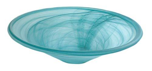 Zimmerbrunnen Schale rund aus Alabaster Glas Ø 35 cm in der Farbe petrol - 2