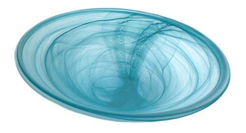 Zimmerbrunnen Schale rund aus Alabaster Glas Ø 35 cm in der Farbe petrol - 3