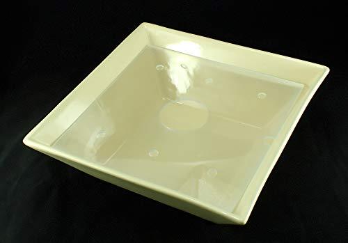 Eckige Zimmerbrunnen Schale aus Keramik 30×30 cm mit Einlage in Cremefarben - 2