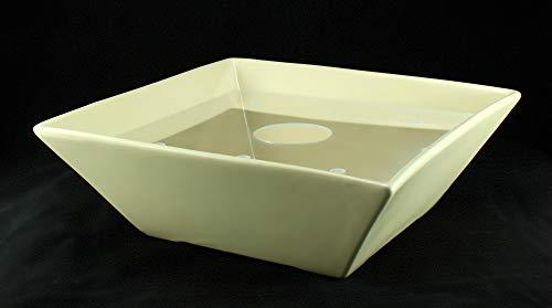 Eckige Zimmerbrunnen Schale aus Keramik 30×30 cm mit Einlage in Cremefarben - 3