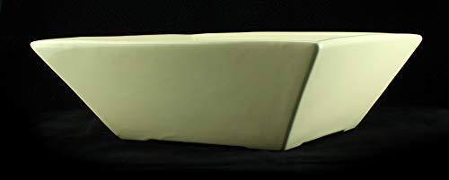 Eckige Zimmerbrunnen Schale aus Keramik 30×30 cm mit Einlage in Cremefarben - 4