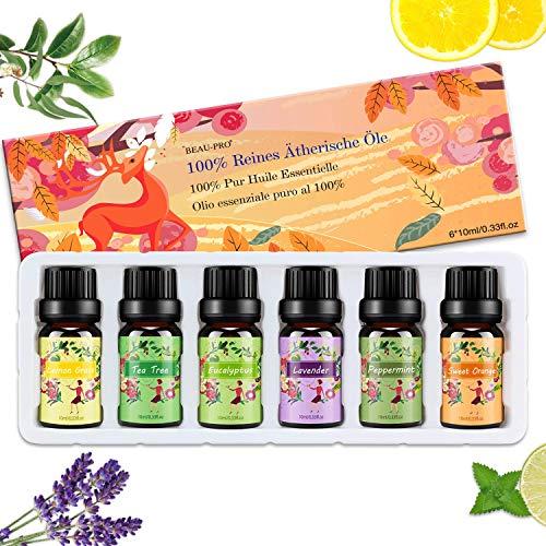 Ätherische Öle Set,6 x 10 ml Aromatherapie Duftöl 100% Pure Ätherische Öle Geschenk für Diffuser- Orange, Lavendel, Teebaum, Zitrone, Eukalyptus und Pfefferminze - 2