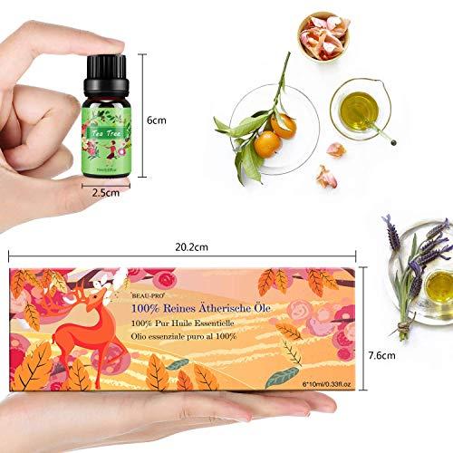 Ätherische Öle Set,6 x 10 ml Aromatherapie Duftöl 100% Pure Ätherische Öle Geschenk für Diffuser- Orange, Lavendel, Teebaum, Zitrone, Eukalyptus und Pfefferminze - 5