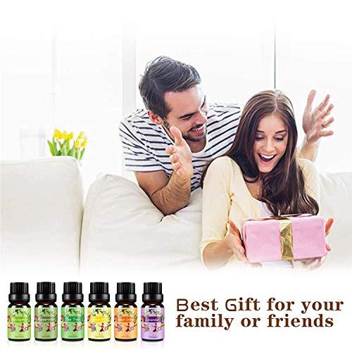 Ätherische Öle Set,6 x 10 ml Aromatherapie Duftöl 100% Pure Ätherische Öle Geschenk für Diffuser- Orange, Lavendel, Teebaum, Zitrone, Eukalyptus und Pfefferminze - 6