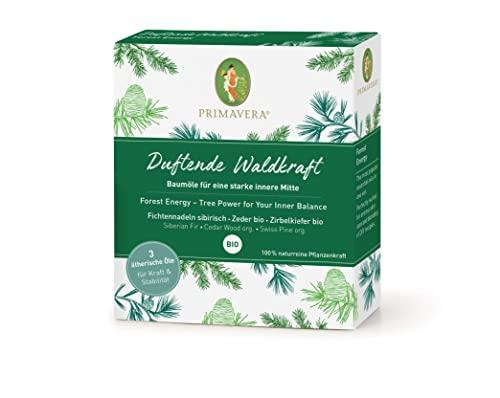 PRIMAVERA ätherische Öle Set Duftende Waldkraft – Geschenkbox 3 x 5 ml Zirbelkiefer, Zeder, Fichtennadel – Aromaöl, Duftöl, Aromatherapie, Geschenke – vegan - 2