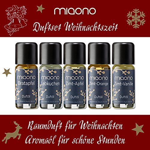 """Duftöle""""Weihnachtszeit"""" – Zimt-Vanille, Lebkuchen, Zimt-Apfel, Bratapfel, Zimt-Orange – Raumduft für Weihnachten – Aromaöl für schöne Stunden (5x10ml) - 2"""