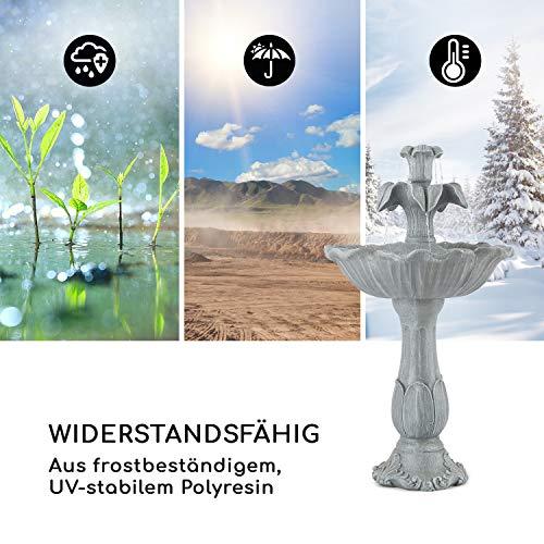 blumfeldt Floreal - Gartenbrunnen, Springbrunnen, Standbrunnen, frostbeständiges, UV-stabiles Polyresin, 6 Watt, Romantisches Design, drinnen und draußen, Steinoptik, hellgrau - 6