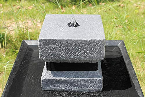 Wehmann Solarbrunnen Asia Solarspringbrunnen Zengarten Brunnen Komplettset für Garten und Terrasse Tag und Nacht !!! - 2