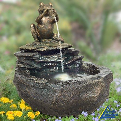 """Vogelbad """"Durstiger Frosch"""" mit Springbrunnen und LED-Beleuchtung"""
