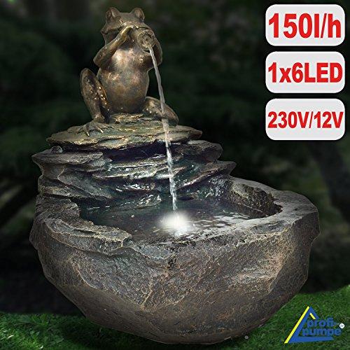 AMUR Gartenbrunnen Brunnen Zierbrunnen Zimmerbrunnen Brunnen Vogelbad Durstiger Frosch mit LED-Licht 230V Wasserfall Wasserspiel für Garten, Gartenteich, Terrasse, Teich, Balkon Sehr Dekorativ - 4