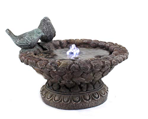 DARO DEKO Brunnen-Set mit Stromstecker und Pumpe Vogeltränke niedrig 24cm x 17cm - 5