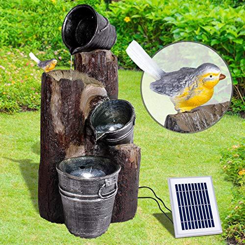 Vogeltränke Solarbrunnen mit Wasserfall und LED-Beleuchtung