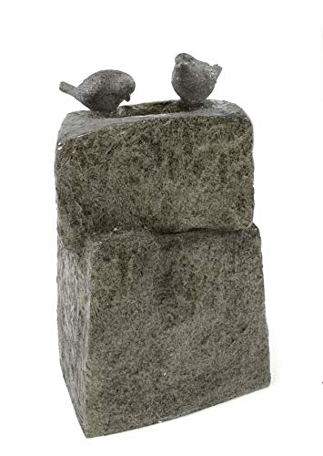 DARO DEKO Garten-Brunnen komplett Set mit Pumpe Vogel-Tränke 34cm x 34cm x 55cm - 4
