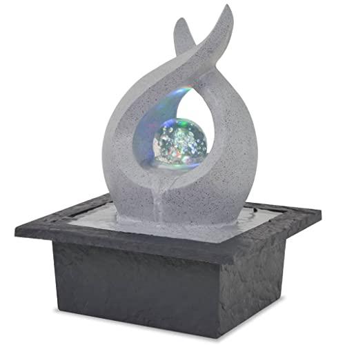 Kugelbrunnen mit drehender Kugel und LED-Beleuchtung