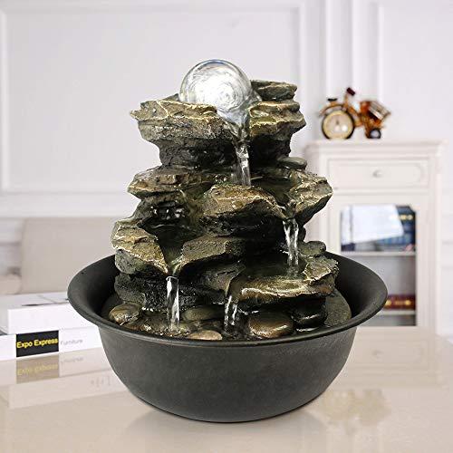 WATURE Desktop Wasserfall Brunnen - LED Tischplatte Brunnen Schreibtisch Zimmerbrunnen für Büro, Wohnzimmer, Ferienhaus mit beleuchteten LED-Leuchten &Tauchpumpe (Realistic Rock, 21cm)' - 2