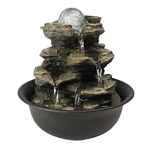 WATURE Desktop Wasserfall Brunnen - LED Tischplatte Brunnen Schreibtisch Zimmerbrunnen für Büro, Wohnzimmer, Ferienhaus mit beleuchteten LED-Leuchten &Tauchpumpe (Realistic Rock, 21cm)' - 4