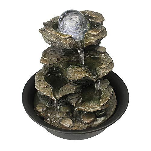 WATURE Desktop Wasserfall Brunnen - LED Tischplatte Brunnen Schreibtisch Zimmerbrunnen für Büro, Wohnzimmer, Ferienhaus mit beleuchteten LED-Leuchten &Tauchpumpe (Realistic Rock, 21cm)' - 5