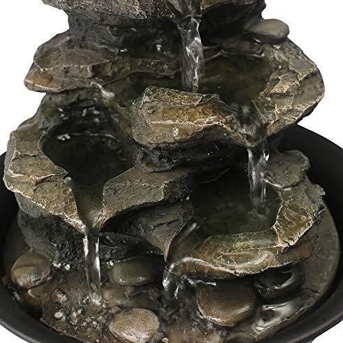 WATURE Desktop Wasserfall Brunnen - LED Tischplatte Brunnen Schreibtisch Zimmerbrunnen für Büro, Wohnzimmer, Ferienhaus mit beleuchteten LED-Leuchten &Tauchpumpe (Realistic Rock, 21cm)' - 7